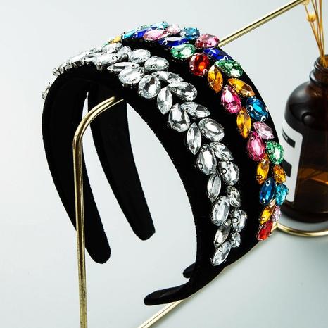 wholesale jewelry retro glass diamond wide brim headband Nihaojewelry NHLN387654's discount tags