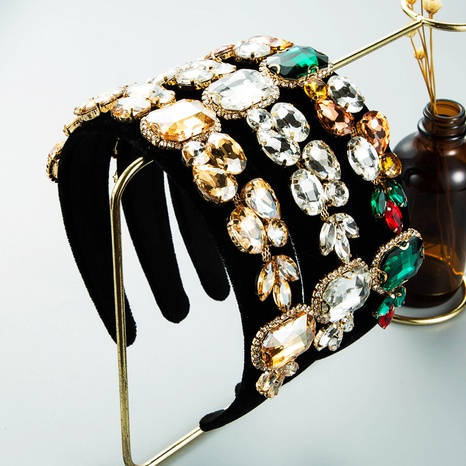 wholesale jewelry baroque wide-edge glass diamond headband Nihaojewelry NHLN387655's discount tags