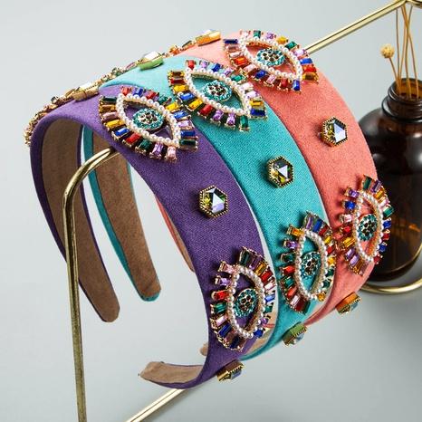 wholesale jewelry color diamond-encrusted eyes flower headband Nihaojewelry NHLN387656's discount tags