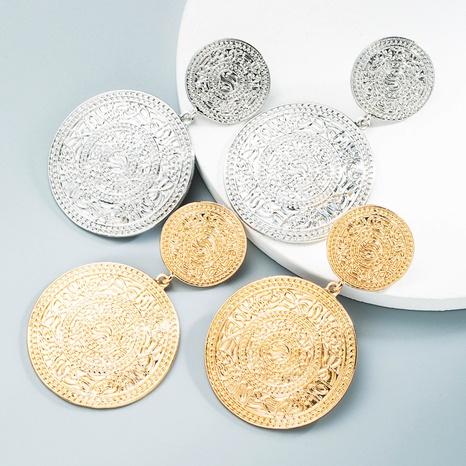 Nihaojewelry Großhandel Schmuck neue mehrschichtige runde Legierung geschnitzte geometrische Ohrringe NHLN387661's discount tags