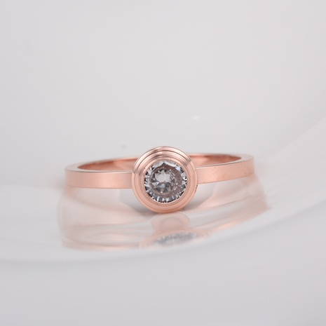 Nihaojewelry Großhandel Schmuck Korean 18k Roségold Diamant Titan Stahlring titanium NHAB387674's discount tags