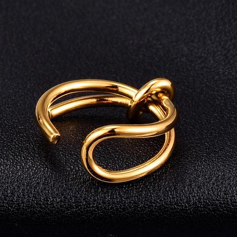 Nihaojewelry Großhandel Schmuck einfach geknoteter offener Titanstahl 18k vergoldeter Ring NHAB387676's discount tags