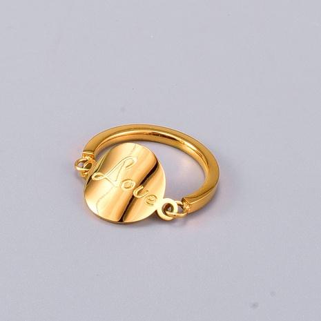 Nihaojewelry Großhandel Schmuck Koreanische Schriftscheibe Titanstahl Roségold Ring NHAB387677's discount tags