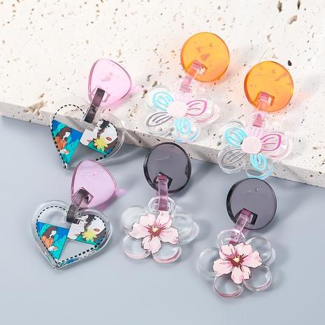 Nihaojewelry wholesale jewelry fashion new alloy resin flower pattern earrings NHJE387680's discount tags