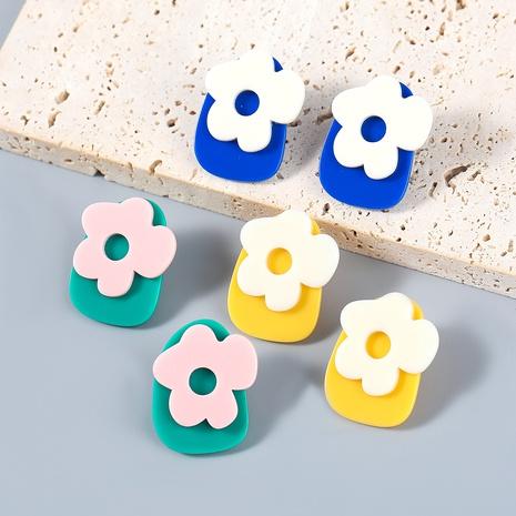 Nihaojewelry wholesale jewelry fashion contrast color alloy resin flower stud earrings NHJE387682's discount tags