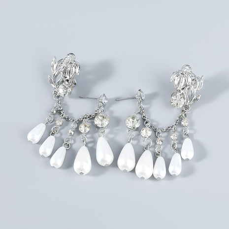 Nihaojewelry wholesale jewelry fashion alloy inlaid zircon imitation pearl ear clips  NHJE387684's discount tags