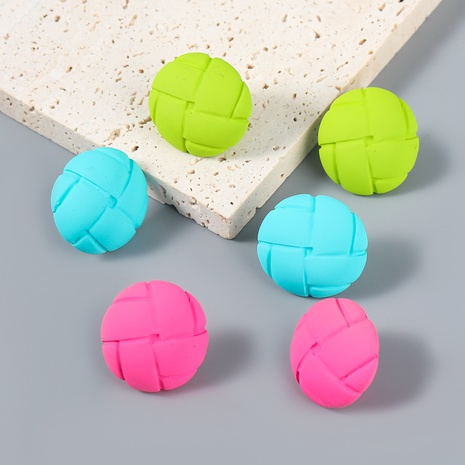 Nihaojewelry wholesale jewelry retro alloy resin bump texture round stud earrings NHJE387685's discount tags