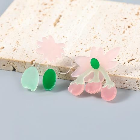 Nihaojewelry Wholesale Jewelry Creative Alloy Resin Flower Asymmetrical Stud Earrings  NHJE387686's discount tags