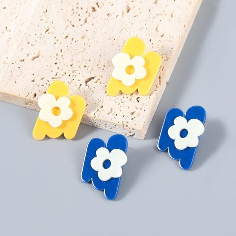 wholesale jewelry simple alloy resin flower geometric stud earrings Nihaojewelry  NHJE387690's discount tags