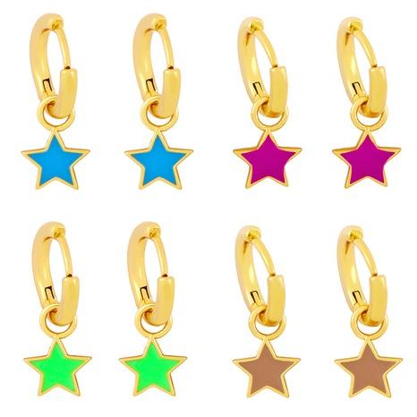 Großhandel Schmuck fünfzackiger Stern Tropfen Öl einfache Ohrringe Nihaojewelry NHAS387691's discount tags