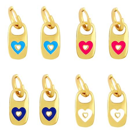 Großhandel Schmuck Metall Tropfen Öl geometrische Herzform Ohrringe Nihaojewelry NHAS387692's discount tags