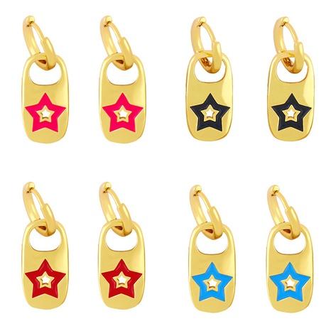 Großhandel Schmuck süße tropfende Öl fünfzackige Sterne geometrische Ohrringe Nihaojewelry NHAS387693's discount tags