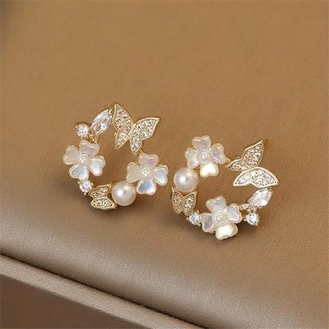 Wolesale Schmuck Perlen Blume Schmetterling Korean Style Ohrringe Nihaojewelry NHPF387766's discount tags