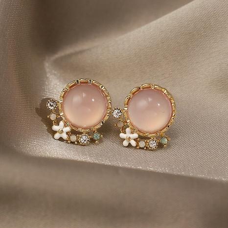 Großhandel Schmuck rosa Opal geometrische Ohrringe im koreanischen Stil Nihaojewelry NHPF387770's discount tags