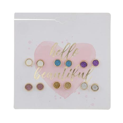 Großhandel Schmuck farbiger Diamant runde Retro-Ohrringe 6 Paar Set Großhandel NHZU387818's discount tags