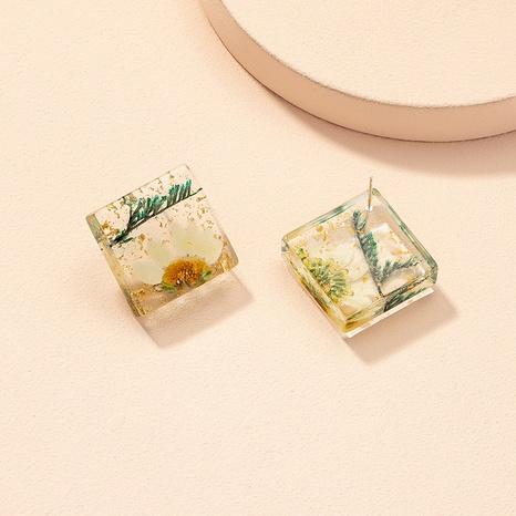 Großhandel Schmuck Retro getrocknete Blume geometrische Harz Ohrringe Nihaojewelry NHAI387950's discount tags
