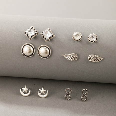 wholesale new silver star wings round diamond earrings 6 sets Nihaojewelry  NHGY391708's discount tags