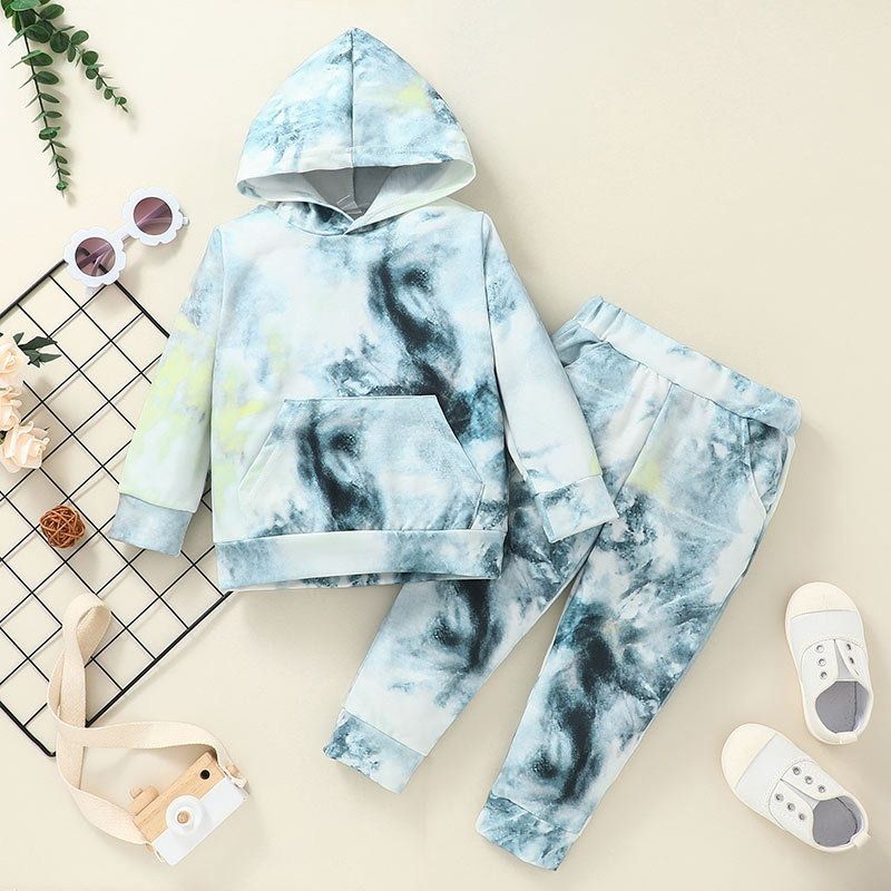 wholesale childrens  tiedye hooded pullover twopiece suit Nihaojewelry NHLF388303