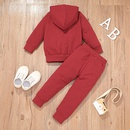 wholesale childrens solid color hooded jacket trousers twopiece suit nihaojewelry  NHLF388311