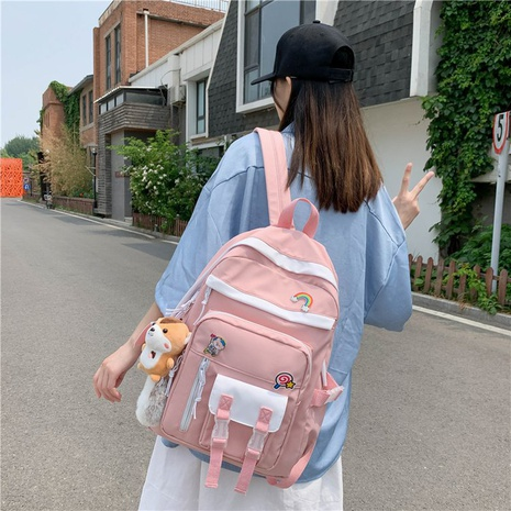 wholesale large-capacity color contrast backpack Nihaojewelry NHTG388393's discount tags