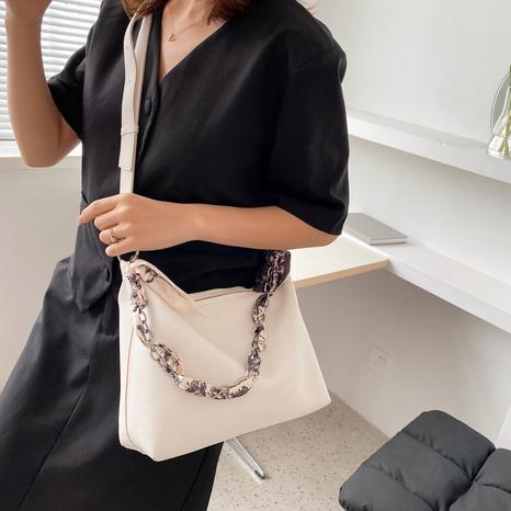 Al por mayor bolso de mensajero de un solo hombro con asa de bufanda de seda de color sólido simple nihaojewelry NHTG388412's discount tags
