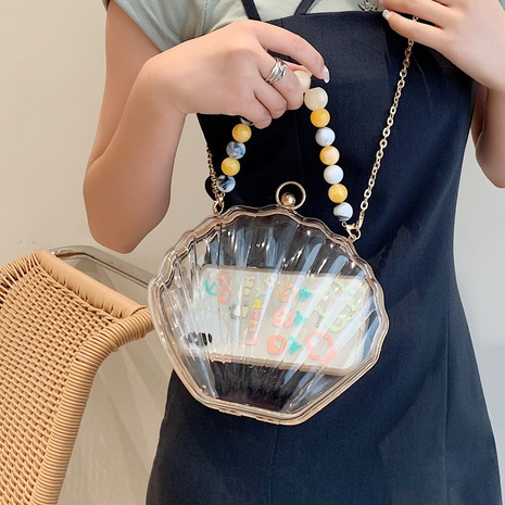 wholesale transparent acrylic beaded chain messenger shell bag nihaojewelry  NHTG388419's discount tags
