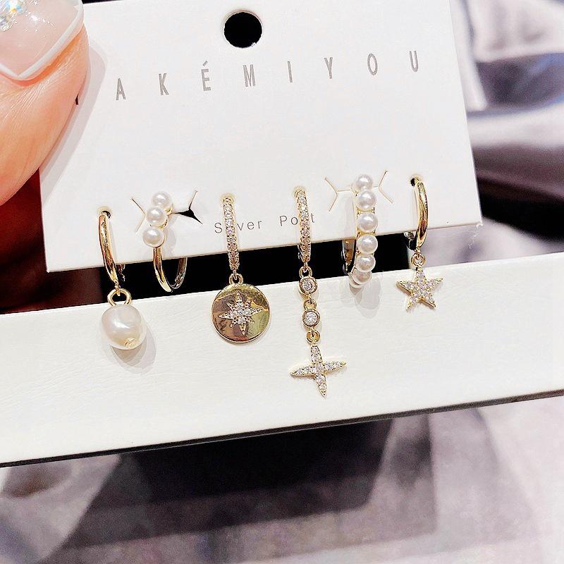 wholesale jewelry star zircon pearl copper earrings set Nihaojewelry NHCG388770