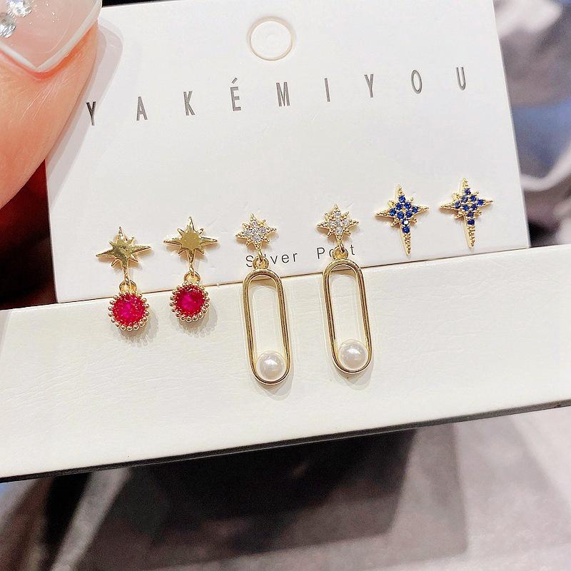 Wholesale Jewelry Inlaid Pearl Zircon Mango Star Copper Earring Set Nihaojewelry NHCG388776
