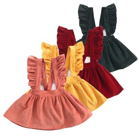 Venta al por mayor de ropa de bebé Vestido corto de niña con volantes de color sólido 80cm-130cm NHWU388831's discount tags