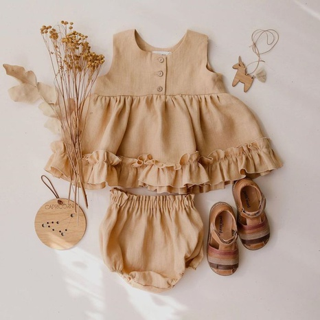 Las muchachas al por mayor visten el chaleco del bebé del lino del algodón del verano 0-3 años de edad falda de princesa enagua con volantes NHWU388830's discount tags