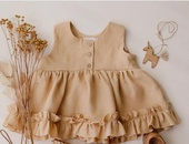 Wholesale girls dress summer cotton linen baby vest 03 yearold ruffled petticoat princess skirt  NHWU388830