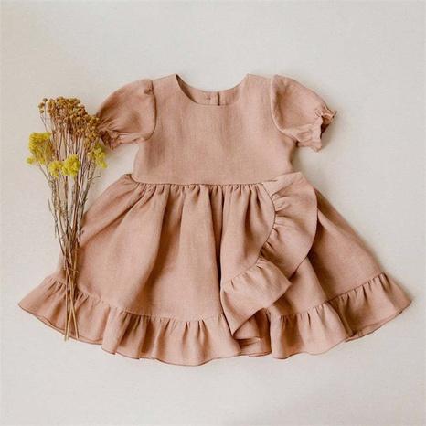 Vestido de manga corta de lino de algodón para niñas al por mayor vestido de princesa de onda grande de encaje para niños 80cm-130cm NHWU388829's discount tags
