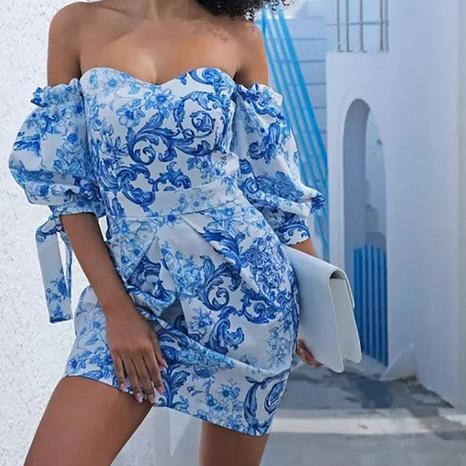 Impression d'été en gros Robe bleue à une épaule à manches lanterne robe taille haute NHWA393512's discount tags