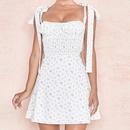 Wholesale Womens summer sling print slim midwaist White dress NHWA388822