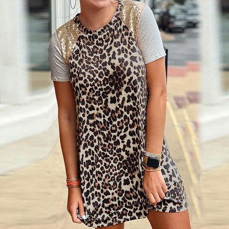 Vestido de lentejuelas de cuello redondo de costura con estampado de leopardo de moda de verano al por mayor para mujer NHWA388821's discount tags