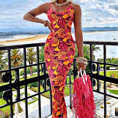 Robe licou sexy d'été Robe à bretelles florale pour femmes en gros NHWA393513's discount tags