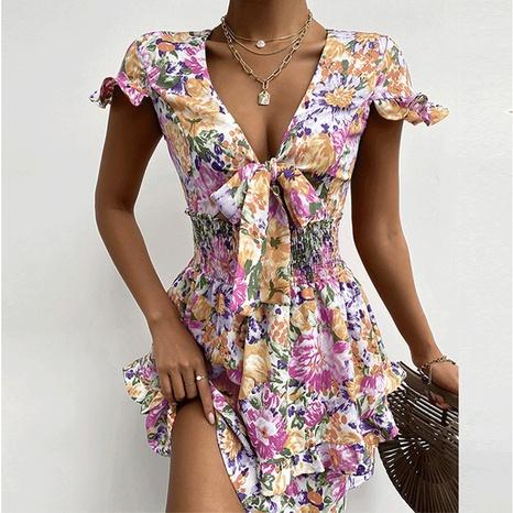 Robe courte imprimée à volants et col en V pour femmes d'été en gros NHWA393515's discount tags