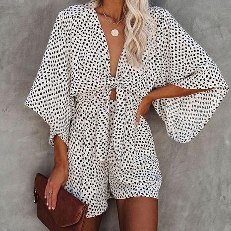 Combinaison décontractée à manches chauve-souris à cravate en gros pour femmes NHWA393520's discount tags