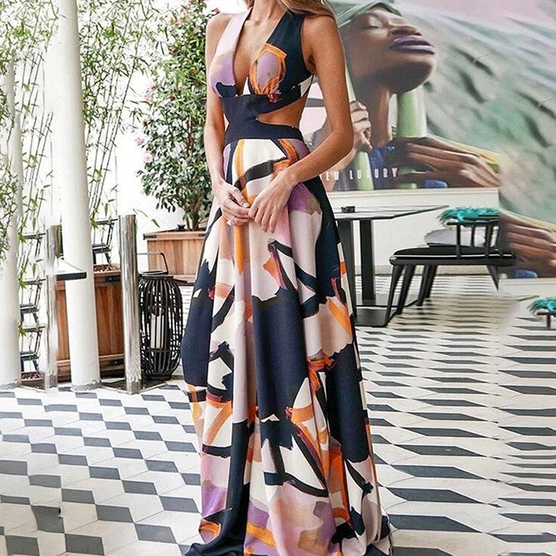 Wholesale printed sling cutout Vneck long dress NHWA388817
