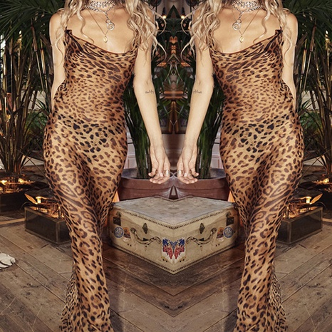 Correas de vestido de leopardo sexy al por mayor goteando hacia atrás Vestido largo NHWA388826's discount tags