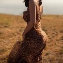 Wholesale sexy leopard dress straps leaking back Long Dress NHWA388826
