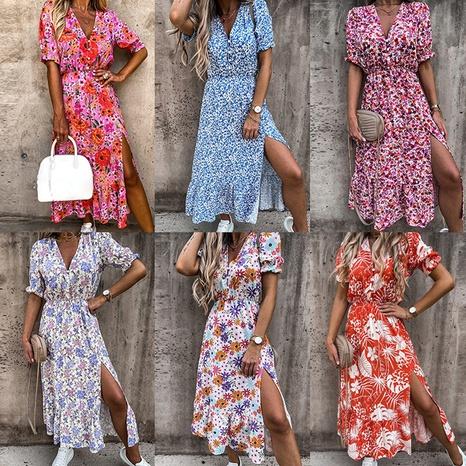 Robe d'été à manches courtes et col en V profond imprimé à la mode NHWA393530's discount tags
