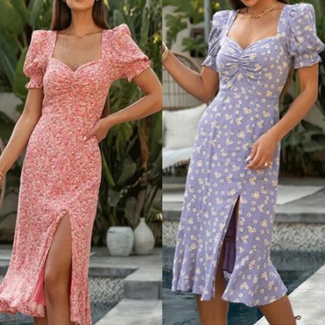 Robe tube à manches longues imprimées en gros pour femmes NHWA393528's discount tags