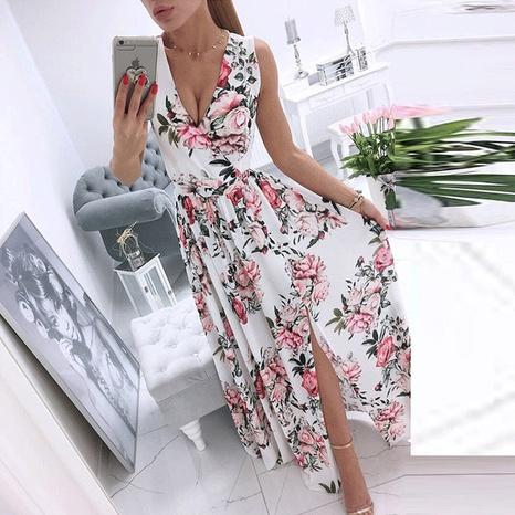 vente en gros robe fleurie sans manches à col en v et en mousseline de soie NHWA393534's discount tags