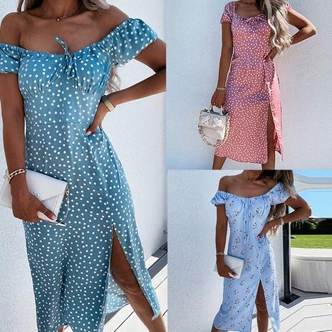 robe florale cravate à manches courtes pour femmes en gros NHWA393533's discount tags