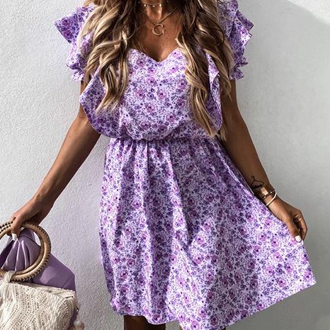 Vente en gros manches de lanterne imprimées grande balançoire courte robe violette NHWA393531's discount tags