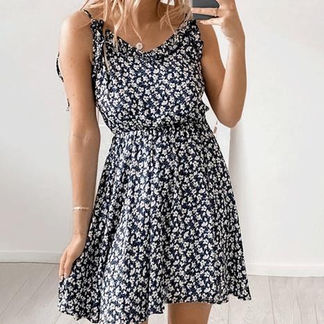 Vestido sin espalda corto con cuello redondo y estampado de honda de verano al por mayor NHWA388827's discount tags
