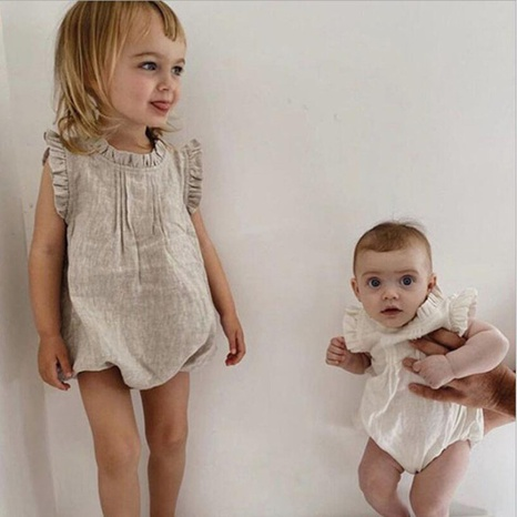 Baby Rompers Wholesale lace collar solid color cotton and linen baby girl clothes NHWU388814's discount tags