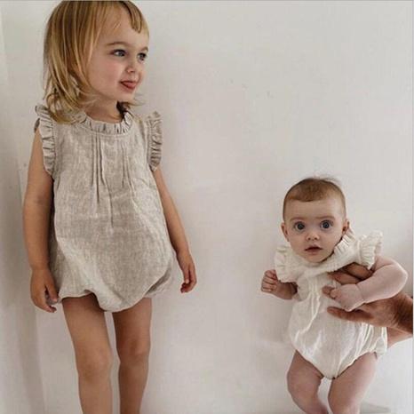 Los mamelucos del bebé venden al por mayor el algodón del color sólido del cuello del cordón y la ropa del bebé del lino NHWU388814's discount tags