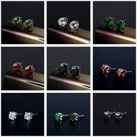 al por mayor color de la joyería pendientes redondos del perno prisionero del acero inoxidable del circón nihaojewelry NHAC388884's discount tags